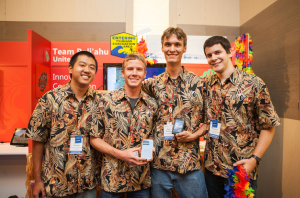 Left to Right: Wallace Hamada, Mike Purvis, Ryder Donahue, Kayton Summers. Photo courtesy of Microsoft Imagine Cup.